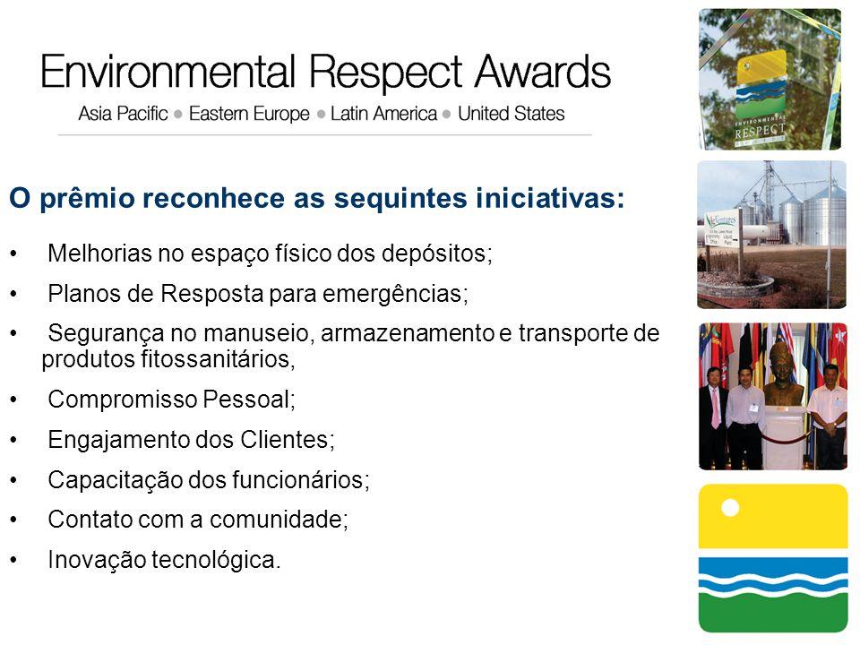 O prêmio reconhece as sequintes iniciativas: Melhorias no espaço físico dos depósitos; Planos de Resposta para emergências; Segurança no manuseio, arm