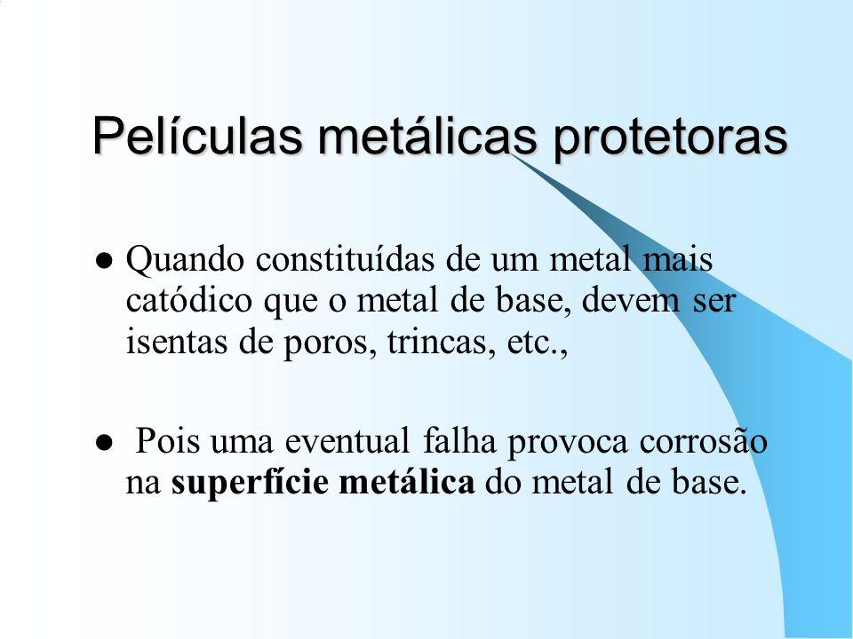 Películas metálicas protetoras Quando constituídas de um metal mais catódico que o metal de base, devem ser isentas de poros, trincas, etc., Pois uma