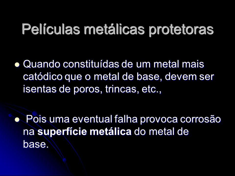 Películas metálicas protetoras Quando constituídas de um metal mais catódico que o metal de base, devem ser isentas de poros, trincas, etc., Quando co