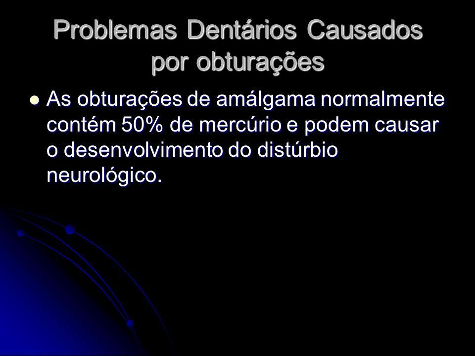 Problemas Dentários Causados por obturações As obturações de amálgama normalmente contém 50% de mercúrio e podem causar o desenvolvimento do distúrbio