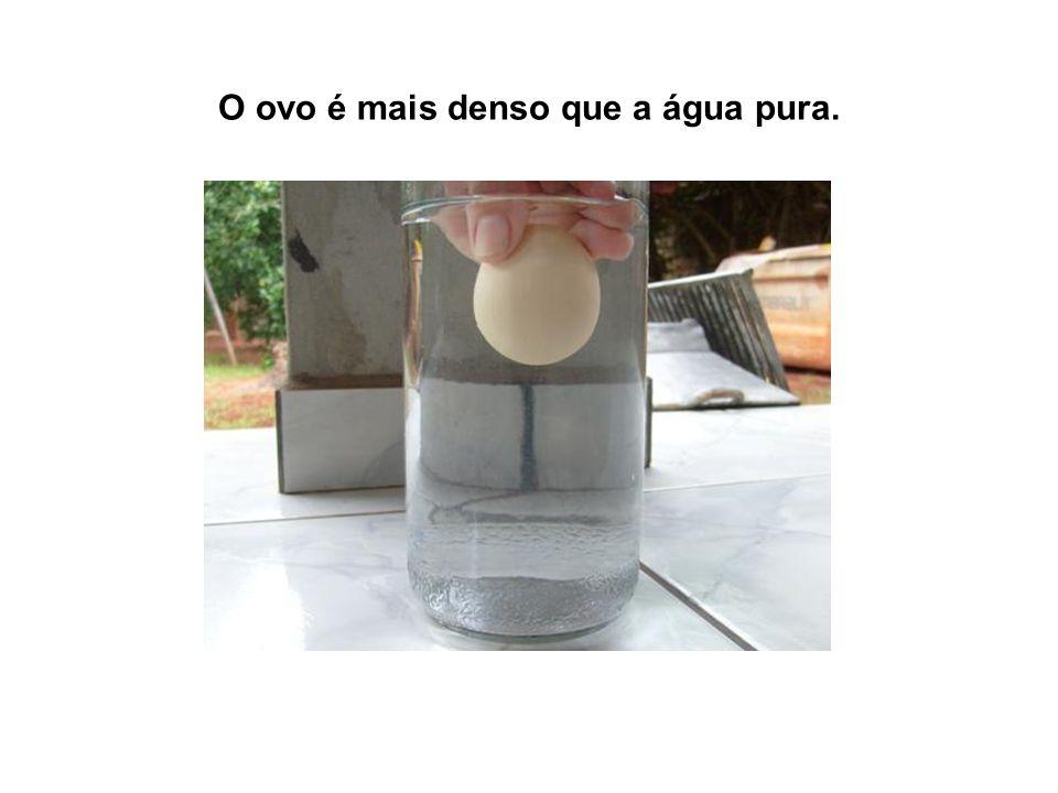Sendo assim o ovo afunda na água.
