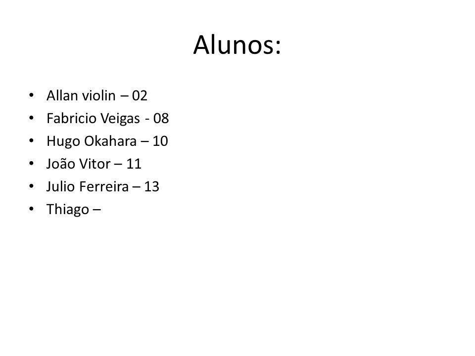 Alunos: Allan violin – 02 Fabricio Veigas - 08 Hugo Okahara – 10 João Vitor – 11 Julio Ferreira – 13 Thiago –