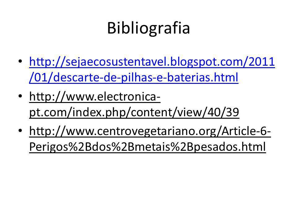 Bibliografia http://sejaecosustentavel.blogspot.com/2011 /01/descarte-de-pilhas-e-baterias.html http://sejaecosustentavel.blogspot.com/2011 /01/descar
