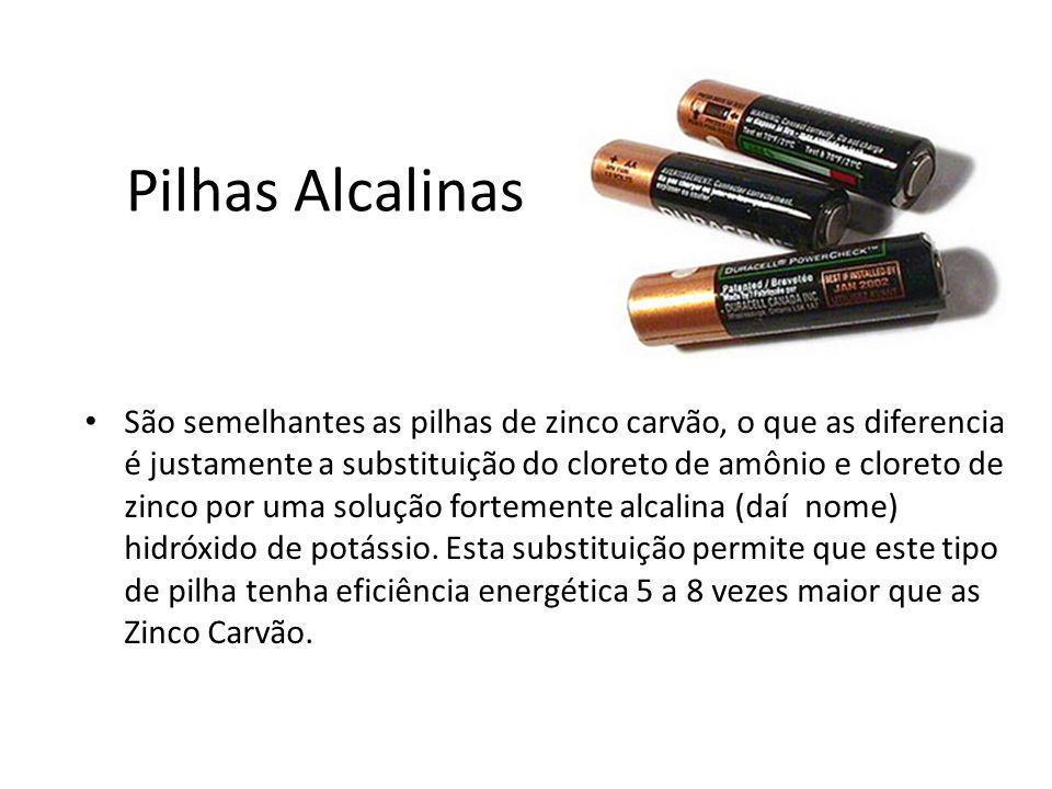 Pilhas Alcalinas São semelhantes as pilhas de zinco carvão, o que as diferencia é justamente a substituição do cloreto de amônio e cloreto de zinco po