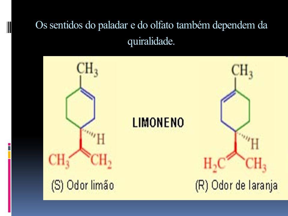 Efeitos fisiológicos dos Isômeros Os isômeros comportam-se de modo diferente quando envolvidos em reações com reagentes assimétricos.
