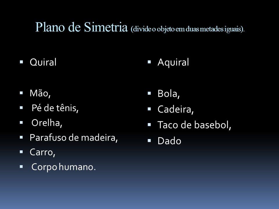Plano de Simetria (divide o objeto em duas metades iguais).
