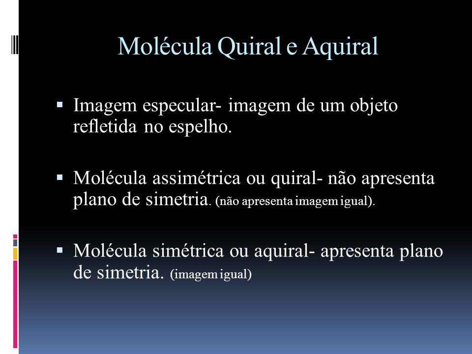 Molécula Quiral e Aquiral Imagem especular- imagem de um objeto refletida no espelho.