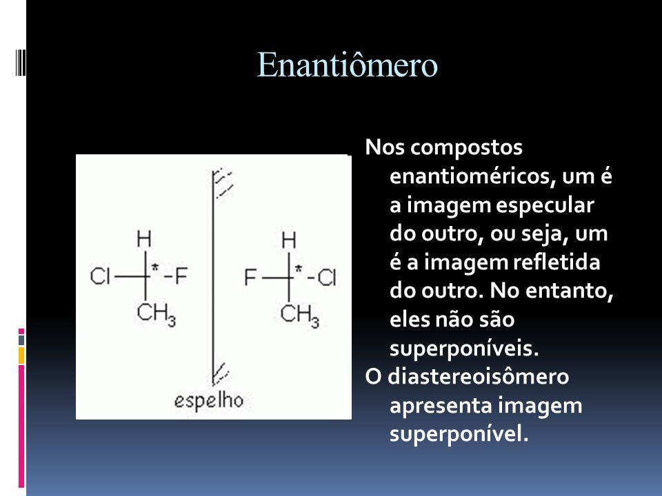 Enantiômero Nos compostos enantioméricos, um é a imagem especular do outro, ou seja, um é a imagem refletida do outro.