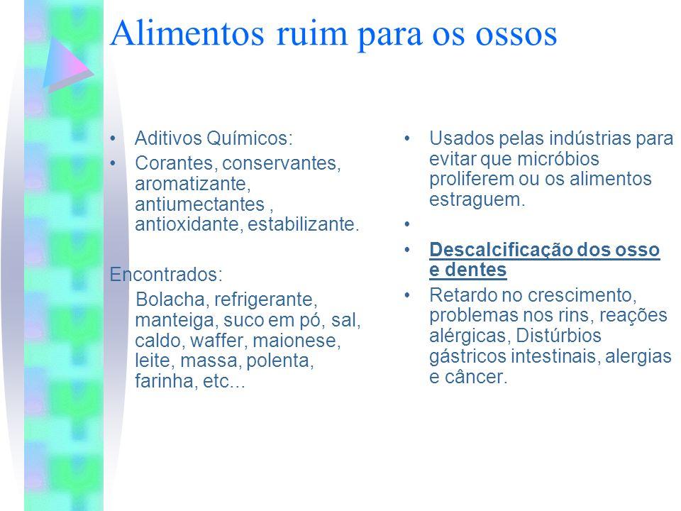 Alimentos ruim para os ossos Aditivos Químicos: Corantes, conservantes, aromatizante, antiumectantes, antioxidante, estabilizante. Encontrados: Bolach
