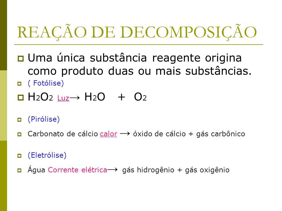 REAGENTES E PRODUTOS SO 3 + H 2 O ---> H 2 SO 4 Reagentes -----------> Produto etanol +oxigênio --> gás carbônico e água Reagentes ------------------>
