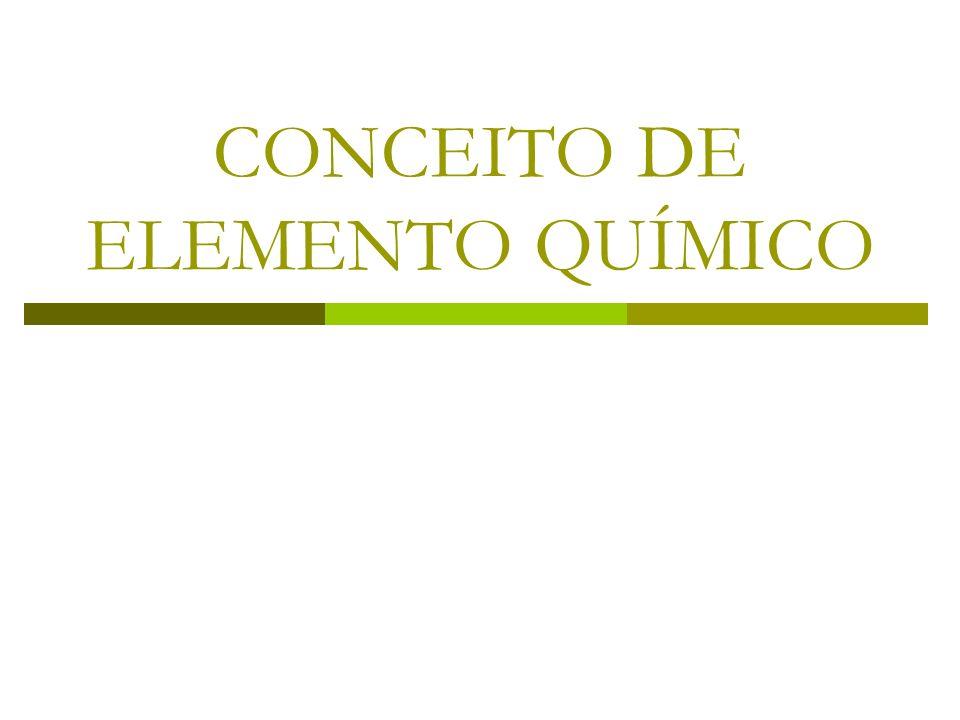 CONCEITO DE ELEMENTO QUÍMICO