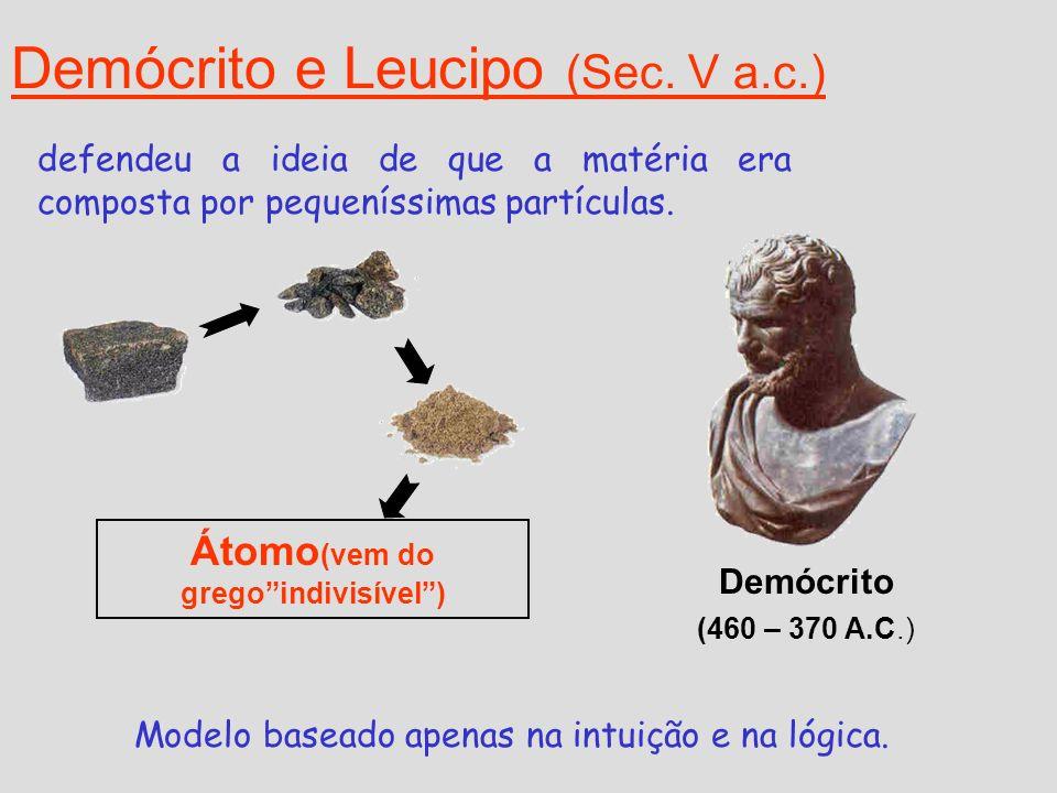 Demócrito e Leucipo (Sec. V a.c.) Átomo (vem do gregoindivisível) Demócrito (460 – 370 A.C.) defendeu a ideia de que a matéria era composta por pequen