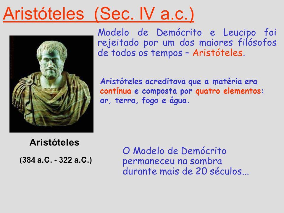 Aristóteles (Sec. IV a.c.) Aristóteles (384 a.C. - 322 a.C.) Modelo de Demócrito e Leucipo foi rejeitado por um dos maiores filósofos de todos os temp