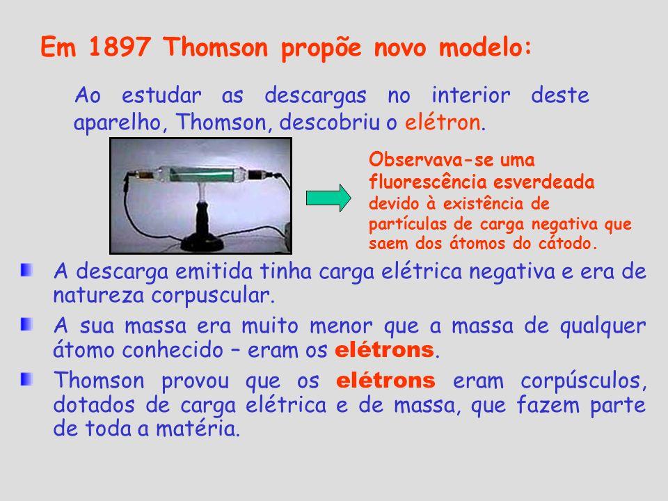 Em 1897 Thomson propõe novo modelo: Ao estudar as descargas no interior deste aparelho, Thomson, descobriu o elétron. A descarga emitida tinha carga e