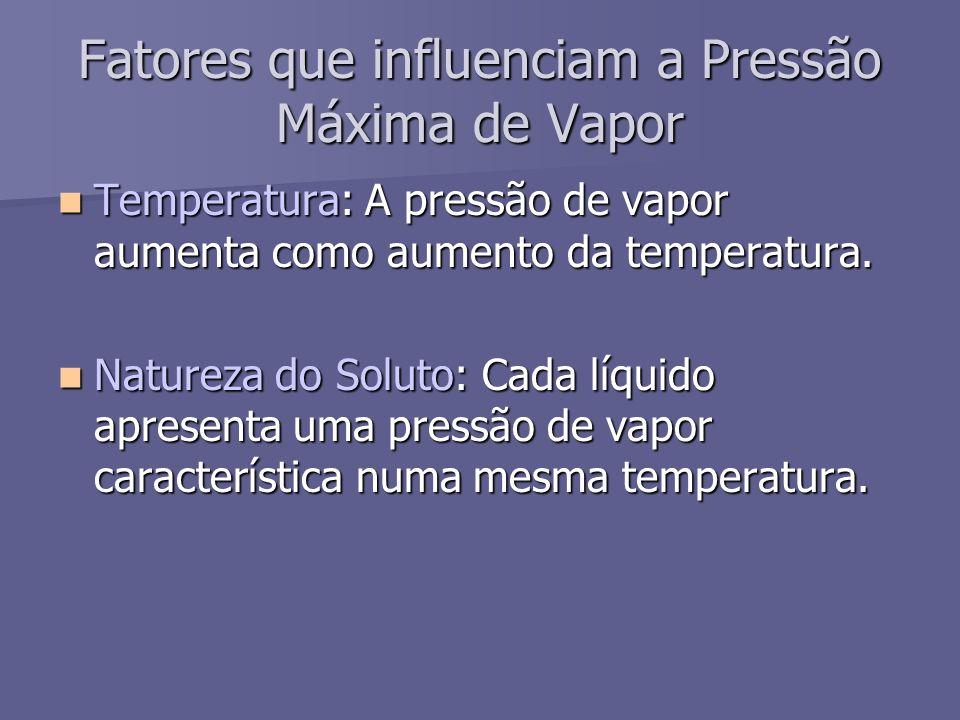Fatores que influenciam a Pressão Máxima de Vapor Temperatura: A pressão de vapor aumenta como aumento da temperatura. Temperatura: A pressão de vapor