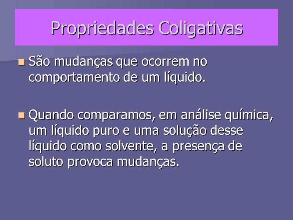 Propriedades Coligativas As propriedades coligativas dependem unicamente do número de partículas do soluto dissolvidas.
