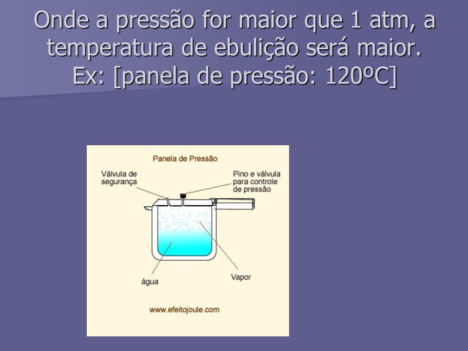 Onde a pressão for maior que 1 atm, a temperatura de ebulição será maior. Ex: [panela de pressão: 120ºC]