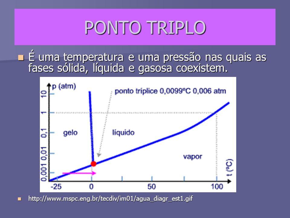 PONTO TRIPLO É uma temperatura e uma pressão nas quais as fases sólida, líquida e gasosa coexistem. É uma temperatura e uma pressão nas quais as fases