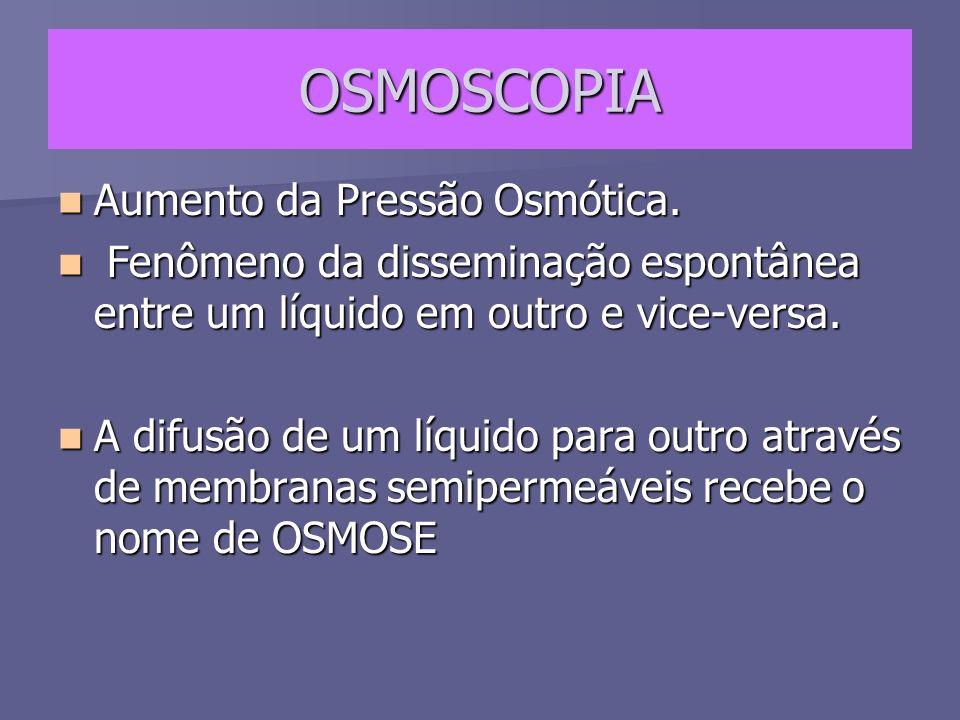 OSMOSCOPIA Aumento da Pressão Osmótica. Aumento da Pressão Osmótica. Fenômeno da disseminação espontânea entre um líquido em outro e vice-versa. Fenôm