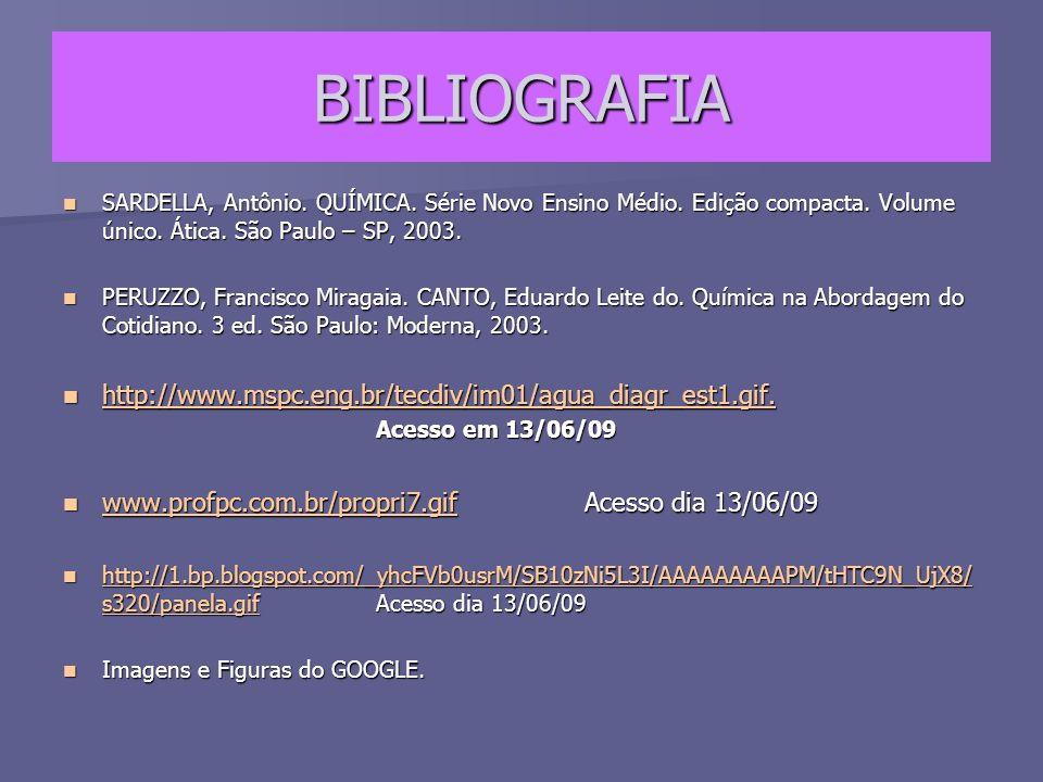 BIBLIOGRAFIA SARDELLA, Antônio.QUÍMICA. Série Novo Ensino Médio.