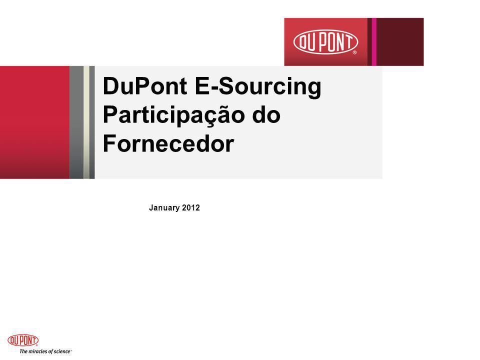 DuPont E-Sourcing Participação do Fornecedor January 2012