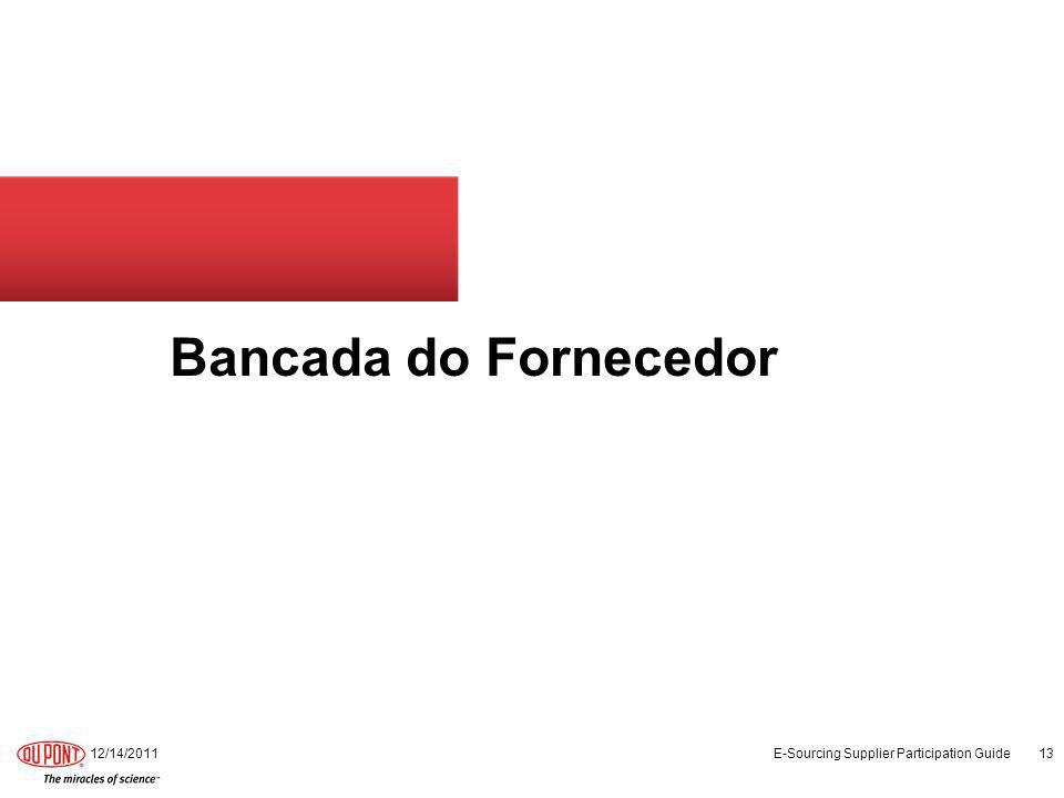 Bancada do Fornecedor 12/14/2011 E-Sourcing Supplier Participation Guide 13
