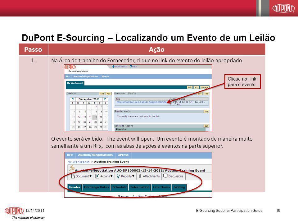 DuPont E-Sourcing – Localizando um Evento de um Leilão 12/14/2011 E-Sourcing Supplier Participation Guide 19 PassoAção 1.Na Área de trabalho do Fornec