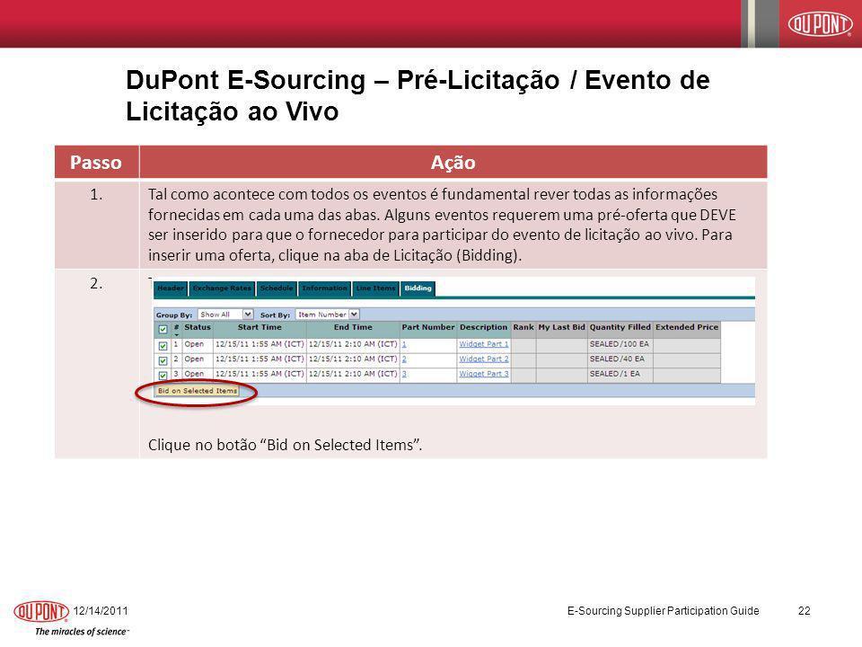 DuPont E-Sourcing – Pré-Licitação / Evento de Licitação ao Vivo 12/14/2011 E-Sourcing Supplier Participation Guide 22 PassoAção 1.Tal como acontece co