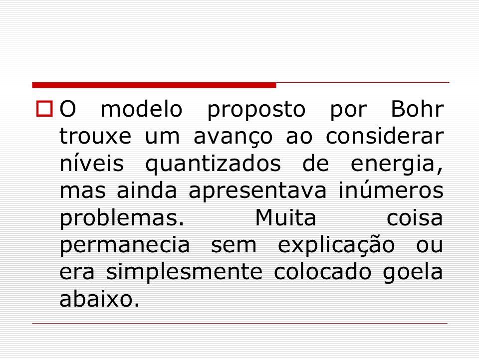 O modelo proposto por Bohr trouxe um avanço ao considerar níveis quantizados de energia, mas ainda apresentava inúmeros problemas. Muita coisa permane