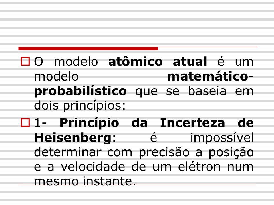 O modelo atômico atual é um modelo matemático- probabilístico que se baseia em dois princípios: 1- Princípio da Incerteza de Heisenberg: é impossível