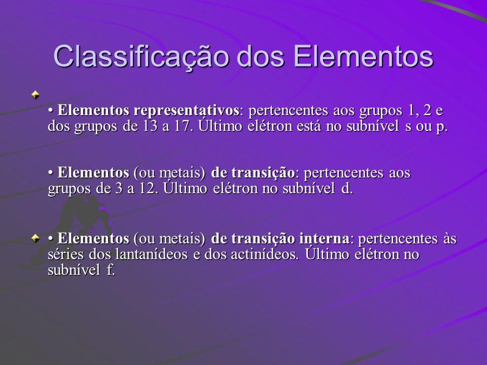 Classificação dos Elementos Elementos representativos: pertencentes aos grupos 1, 2 e dos grupos de 13 a 17. Último elétron está no subnível s ou p. E