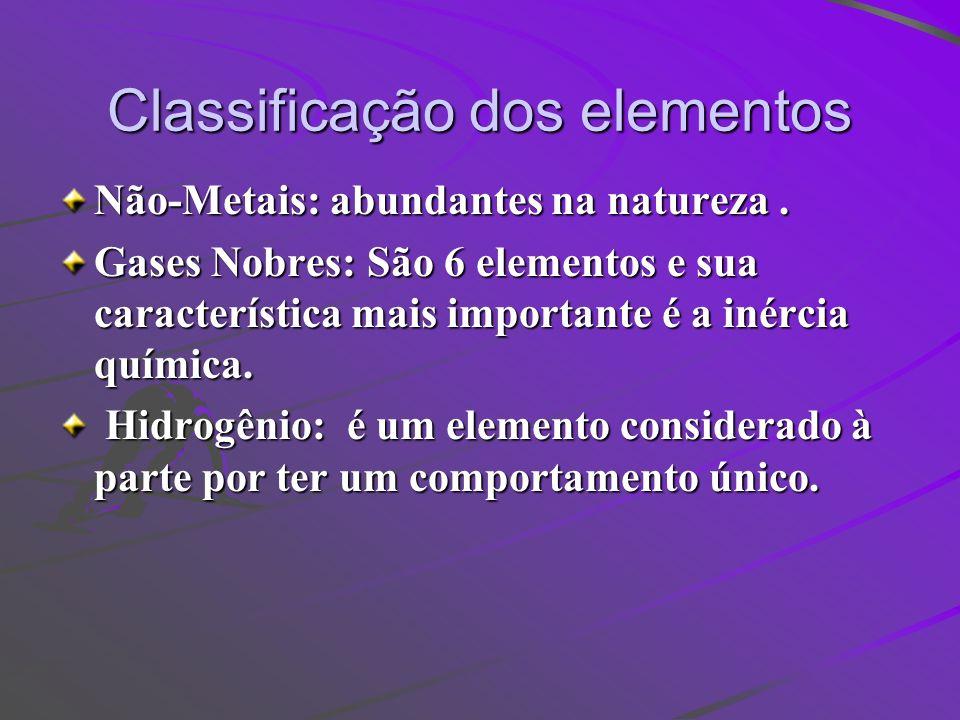 Classificação dos elementos Não-Metais: abundantes na natureza. Gases Nobres: São 6 elementos e sua característica mais importante é a inércia química