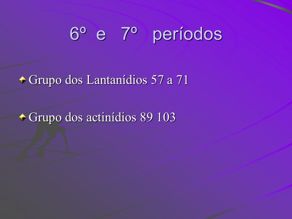 6º e 7º períodos Grupo dos Lantanídios 57 a 71 Grupo dos actinídios 89 103