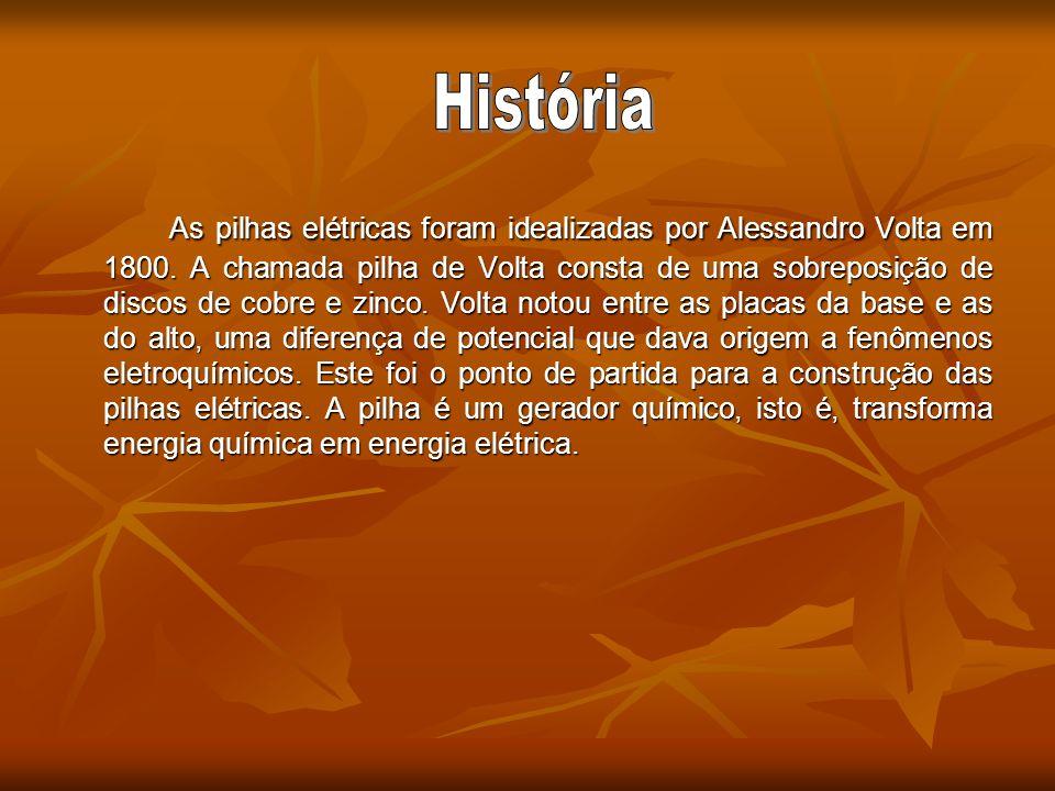 As pilhas elétricas foram idealizadas por Alessandro Volta em 1800. A chamada pilha de Volta consta de uma sobreposição de discos de cobre e zinco. Vo
