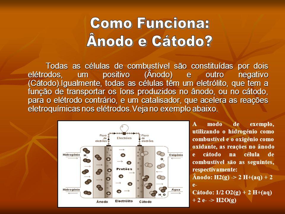 Todas as células de combustível são constituídas por dois elétrodos, um positivo (Ânodo) e outro negativo (Cátodo).Igualmente, todas as células têm um
