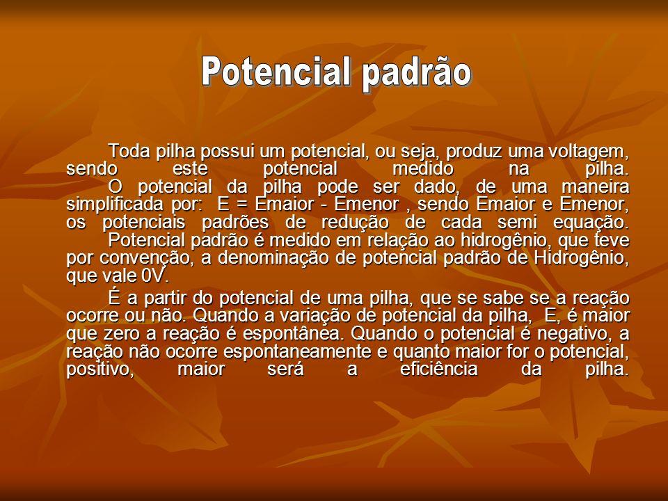 Toda pilha possui um potencial, ou seja, produz uma voltagem, sendo este potencial medido na pilha. O potencial da pilha pode ser dado, de uma maneira