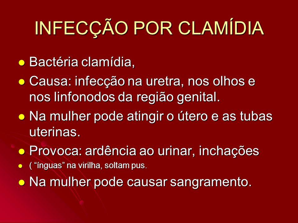 INFECÇÃO POR CLAMÍDIA Bactéria clamídia, Bactéria clamídia, Causa: infecção na uretra, nos olhos e nos linfonodos da região genital. Causa: infecção n