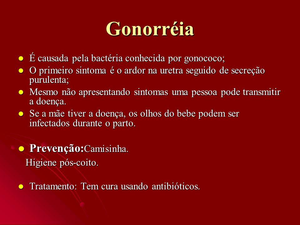 Gonorréia É causada pela bactéria conhecida por gonococo; É causada pela bactéria conhecida por gonococo; O primeiro sintoma é o ardor na uretra segui