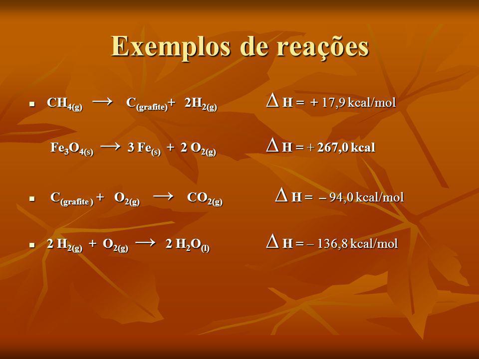 Exemplos de reações CH 4(g) C (grafite) + 2H 2(g) H = + 17,9 kcal/mol CH 4(g) C (grafite) + 2H 2(g) H = + 17,9 kcal/mol Fe 3 O 4(s) 3 Fe (s) + 2 O 2(g