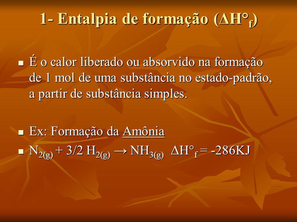 1- Entalpia de formação (ΔH° f ) É o calor liberado ou absorvido na formação de 1 mol de uma substância no estado-padrão, a partir de substância simpl