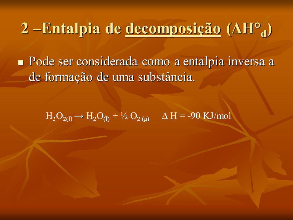 2 –Entalpia de decomposição (ΔH° d ) Pode ser considerada como a entalpia inversa a de formação de uma substância. Pode ser considerada como a entalpi
