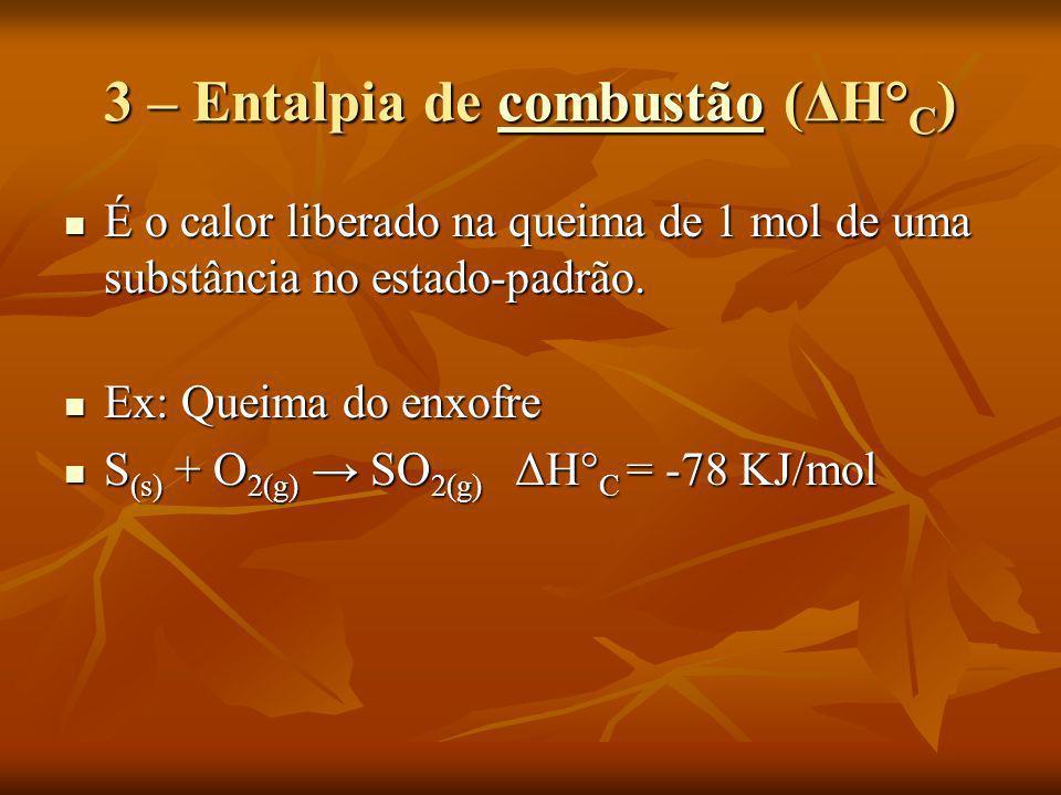 3 – Entalpia de combustão (ΔH° C ) combustão É o calor liberado na queima de 1 mol de uma substância no estado-padrão. É o calor liberado na queima de