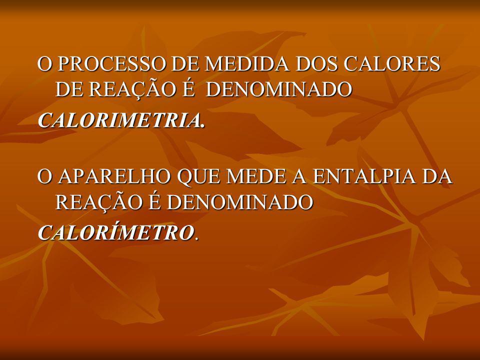 O PROCESSO DE MEDIDA DOS CALORES DE REAÇÃO É DENOMINADO O PROCESSO DE MEDIDA DOS CALORES DE REAÇÃO É DENOMINADO CALORIMETRIA. CALORIMETRIA. O APARELHO
