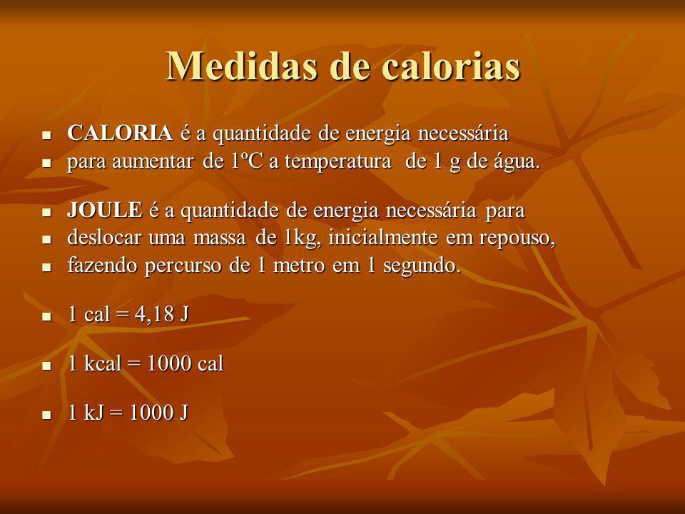Medidas de calorias CALORIA é a quantidade de energia necessária CALORIA é a quantidade de energia necessária para aumentar de 1ºC a temperatura de 1