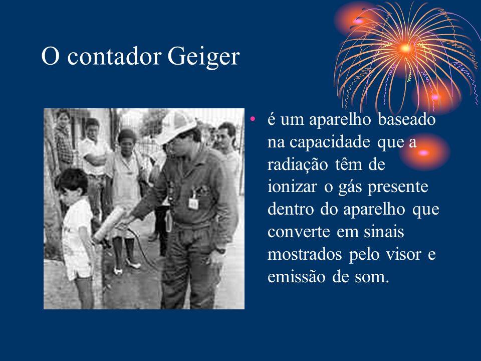 O contador Geiger é um aparelho baseado na capacidade que a radiação têm de ionizar o gás presente dentro do aparelho que converte em sinais mostrados