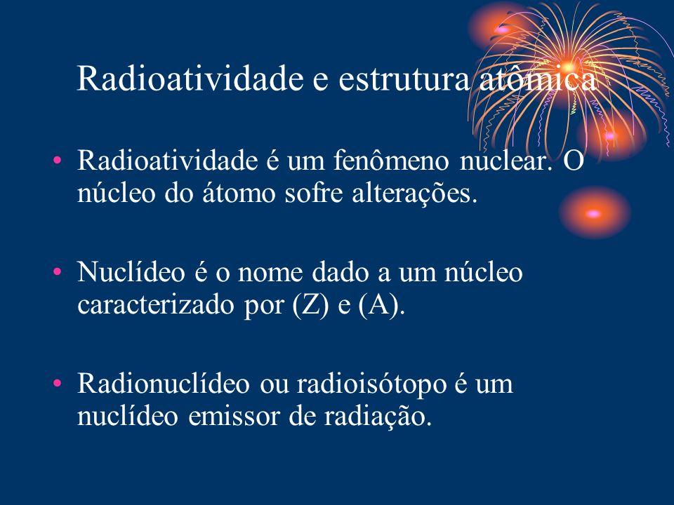 Radioatividade e estrutura atômica Radioatividade é um fenômeno nuclear. O núcleo do átomo sofre alterações. Nuclídeo é o nome dado a um núcleo caract