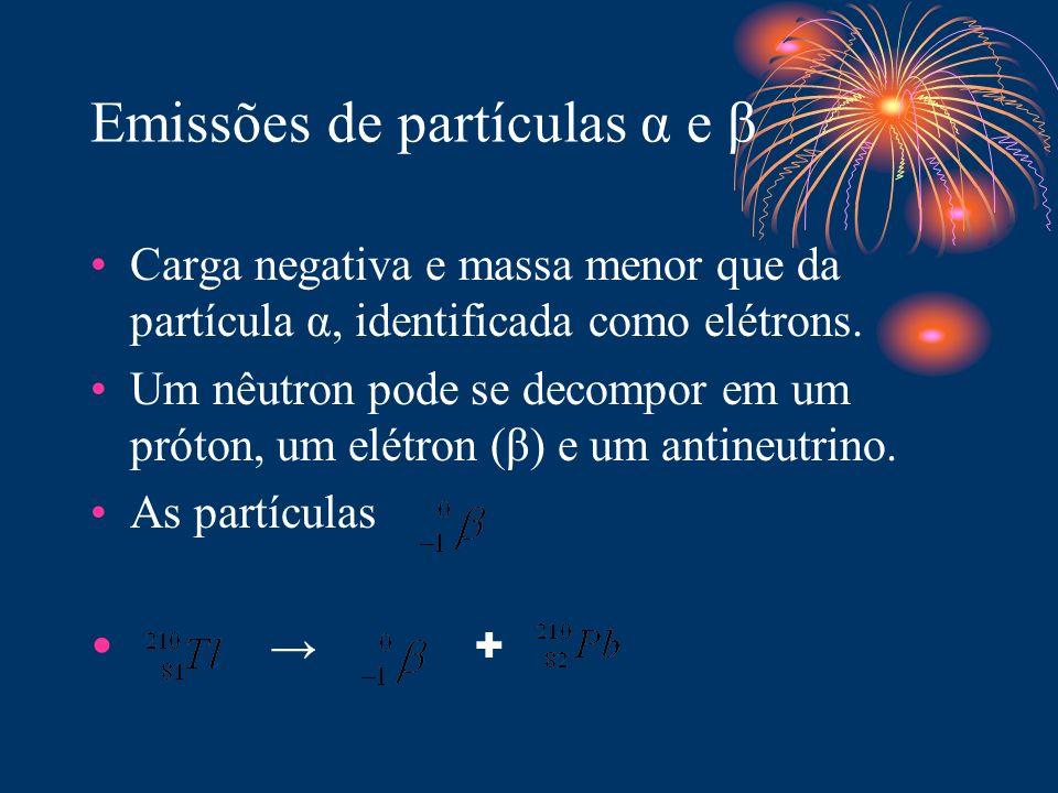 Emissões de partículas α e β Carga negativa e massa menor que da partícula α, identificada como elétrons. Um nêutron pode se decompor em um próton, um