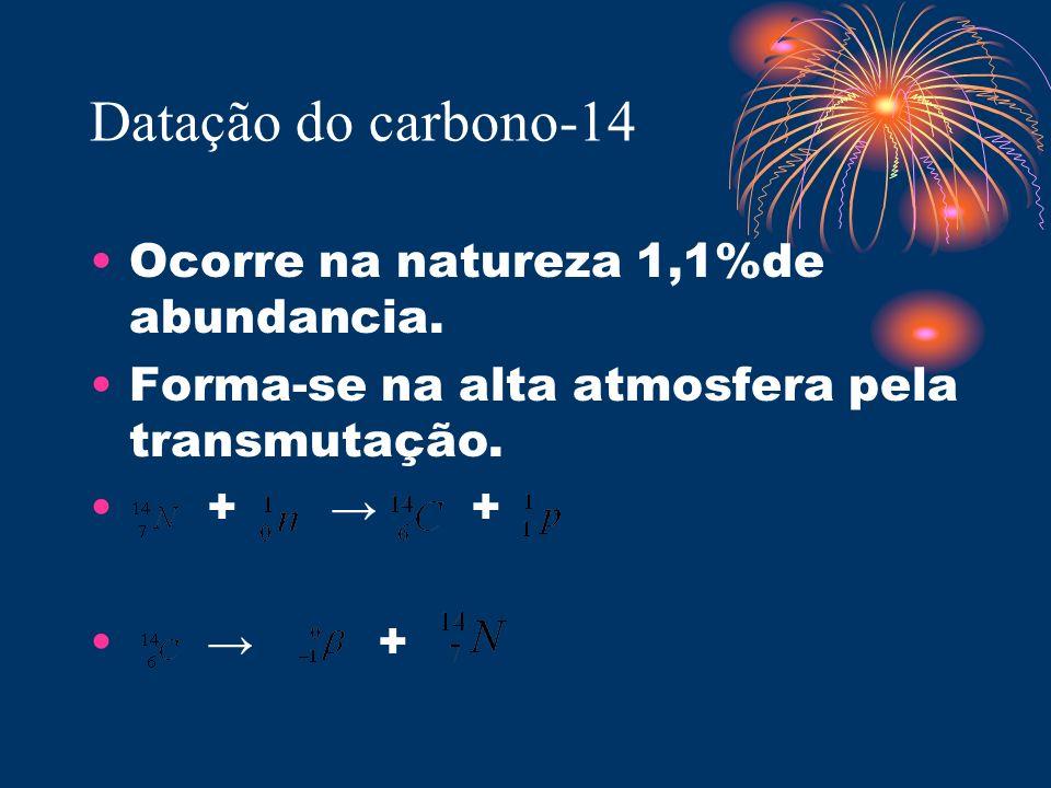 Datação do carbono-14 Ocorre na natureza 1,1%de abundancia. Forma-se na alta atmosfera pela transmutação. + + +