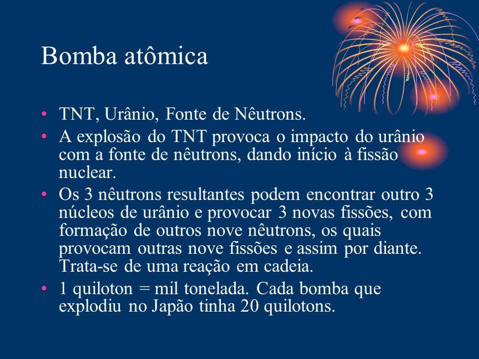 Bomba atômica TNT, Urânio, Fonte de Nêutrons. A explosão do TNT provoca o impacto do urânio com a fonte de nêutrons, dando início à fissão nuclear. Os