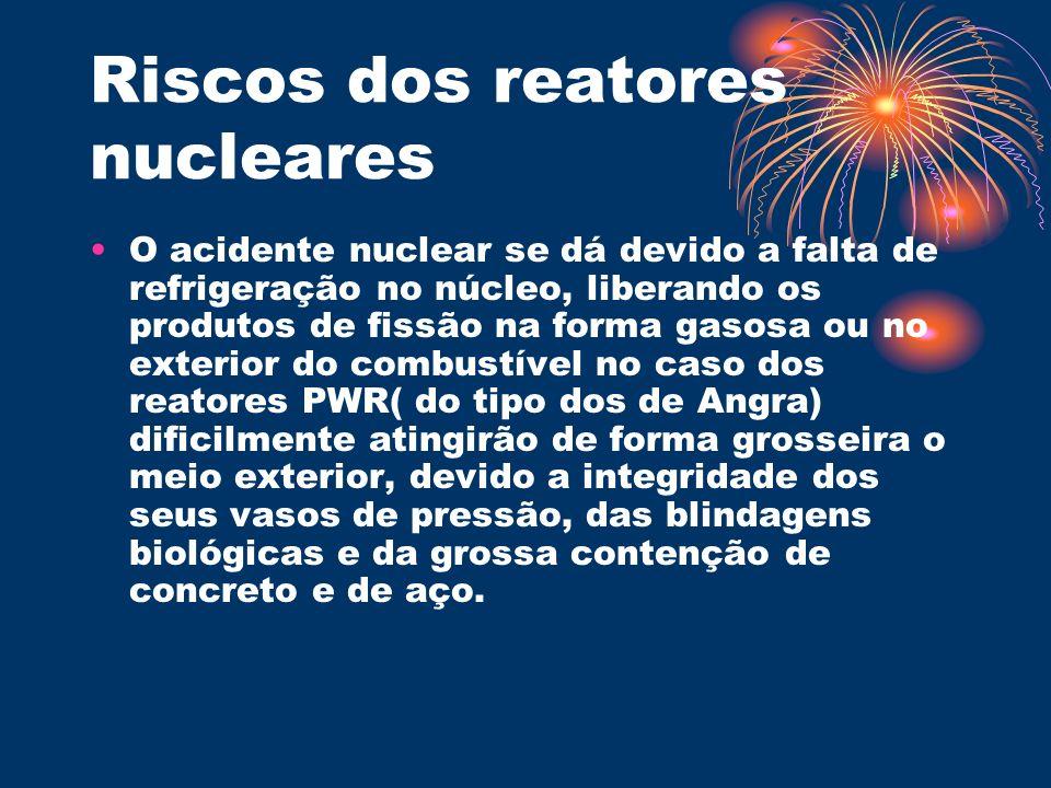 Riscos dos reatores nucleares O acidente nuclear se dá devido a falta de refrigeração no núcleo, liberando os produtos de fissão na forma gasosa ou no